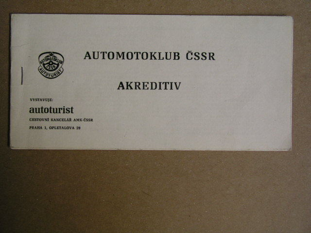 Automotoklub ČSSR - Akreditiv